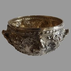 Antique Eastern Sterling Silver Bowl with Relief Accent