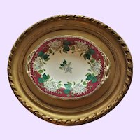 "Antique 19th Century English Framed ""Lilac"" Transferware Pedestal Plate"