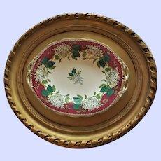 "Antique 19th Century English Framed ""Lilac"" Transferware Pedestal Plate"