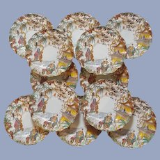 Set of 12 Exquisite Royal Crown Derby Fluted Edge Plates
