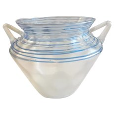 Exquisite Steuben Verre de Soie Vessel with Blue Threading Accent