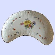 Antique Palm Beach Meissen Crescent Dish in Floral Pattern with Brass Paw Feet