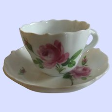 19th Century Meissen Demitasse Rose Pink Cup and Saucer