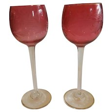 Pair of Exquisite Antique Cranberry Etched Cut Crystal Bohemian Hock Stems