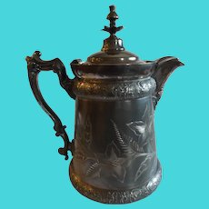 Antique Victorian Silver Plate Ice Water Pitcher with Mask Spout & Angels
