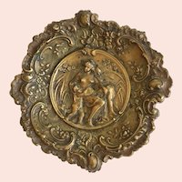Lovely Victorian Era Antique Repousse Brass Tray with Mother and Children