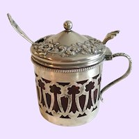 Antique Sterling Silver Mustard with Spoon & Cranberry Glass Insert