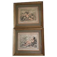 Pair of Antique Framed Putti Angel Prints...Simply Charming