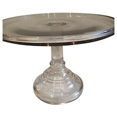 Antique 19th Century EAPG Flint Glass Cake Stand with Footed Plinth