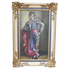 """Vintage Oil Painting """"Bullfighter"""" by Jean-Denis Millart"""