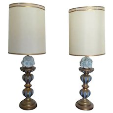 Vintage Tall Ceramic Table Lamps  with Handmade Blue Ceramic Flowers