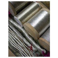 Collection antique late 19th century French / German silver tone metallic embroidery bullionwork thread yarn