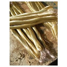 5 skeins antique French / German gold tone very fine embroidery thread