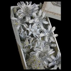Large antique French 1860s wedding box full of unused hand beaded flowers