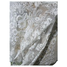 French 19th century tambour lace wedding shawl veil