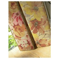 2 vintage French 1920s fabric covered boudoir boxes