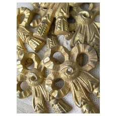Set 6 French gilded ormolu picture hook embellishments or covers
