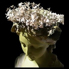 Antique French silver paper flower wired wedding bridal tiara crown 1889