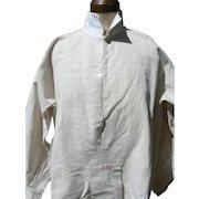 Antique French 19th Century farmer's linen primitive work chore shirt smock monogram EB