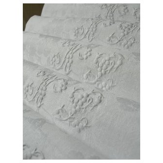 4  French linen damask napkins - hand embroidered monogram NL