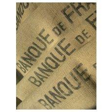 2 vintage French jute & hemp Banque de France sacks - cushion projects