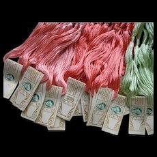 36 skeins antique French pure silk floss embroidery thread skeins circa 1900 - unopened packets with original labels