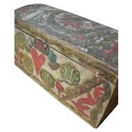 Beautiful antique French Folk Art 19th century domed lid wedding bride's trunk box