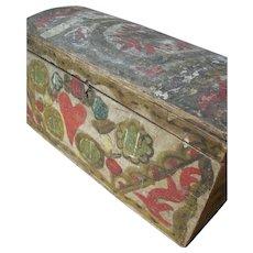 Beautiful antique French Folk Art 19th century domed lid wedding bride's trunk box