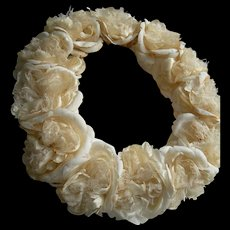 Divinely plump antique French silk fabric roses wedding crown tiara headdress 1890s