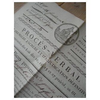 Rare property document - printed and handwritten 18th Century 1st French Republic 1795