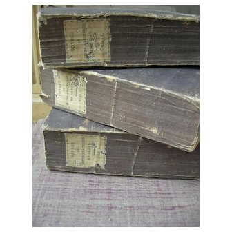 Set of 3 antique French 1824 ruffle-paged books livres brochees for decoration - Tomes I - III