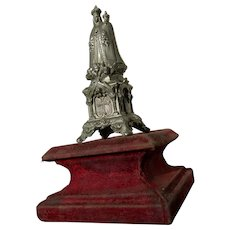 Beautiful antique French white metal statue Madonna & Babe velvet plinth 1890s