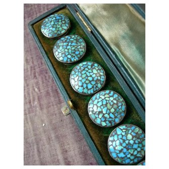 Boxed set 6 antique turquoise semi precious stone & white metal buttons