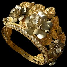 French 19th Century gilded metal crown with paste diamante stones & flowers