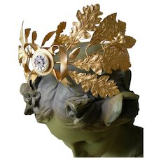Exquisite 19th Century French gilded metal wedding processional crown tiara (B)