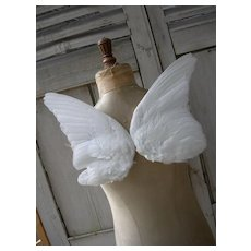 Pair Victorian 19th Century millinery hat wings - angel / fairy wings