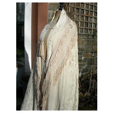 Exquisite, rare 19th Century hand embroidered silk Canton bustle crinoline shawl mantle