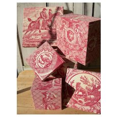3 French antique fabric covered boudoir boxes - authentic 18th & 19th Century Toile de Jouy