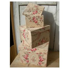 Set 3 large antique French fabric covered boudoir boxes - authentic 19th Century cabbage roses