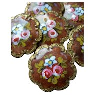 Set 6 antique 19th Century French scalloped enamel buttons - roses