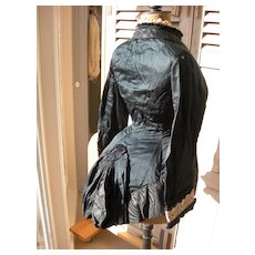 Exquisite 19th Century 1860s  French silk & lace jacket corsage with in-built bustle