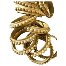 Set 12 French 19th Century 1860s gilded bronze curtain rings