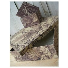2 superb French fabric covered boudoir boxes - 19thC purple Toile de Jouy