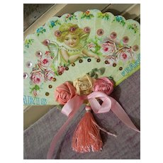 1 miniature French 1900 Paris advertising fan - sequins ribbonwork tassel roses