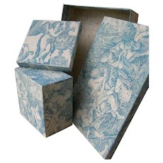 2 superb antique French fabric covered boudoir boxes - 19th Century blue toile de Jouy