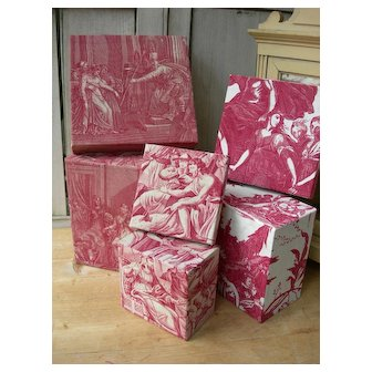 Set 3 boudoir boxes covered with antique French 18th & 19th Century Toile de Jouy fabrics