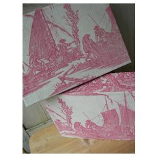 1 large boudoir box covered with antique French 18th Century Toile de Jouy fabric 1785