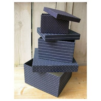 Set 3 boudoir boxes covered with antique French 19th hand dyed indigo fabrics