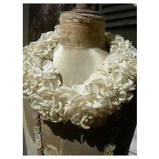 French 19th century fabric flower bridal wedding crown tiara - roses