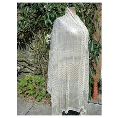 Large vintage 1920s Assuit hammered silver metal tulle shawl